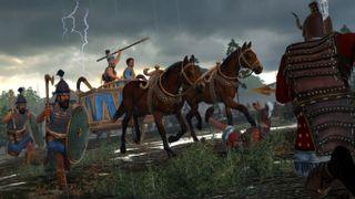 Total War Saga: Troy screenshot with Sarpedon heading into battle