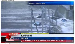 Video of tsunami striking Kamaishi Japan, March 11, 2011.