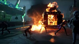 An explosion engulfs a truck, zombies run screaming in all directions