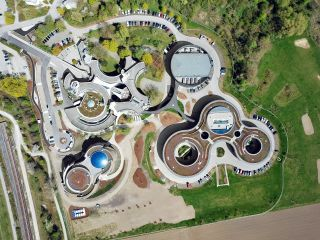 An aerial view of the European Southern Observatory's headquarters and Planetarium & Visitor Centre in Germany.