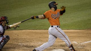 Baltimore Orioles player wears mask at bat against Washington Nationals