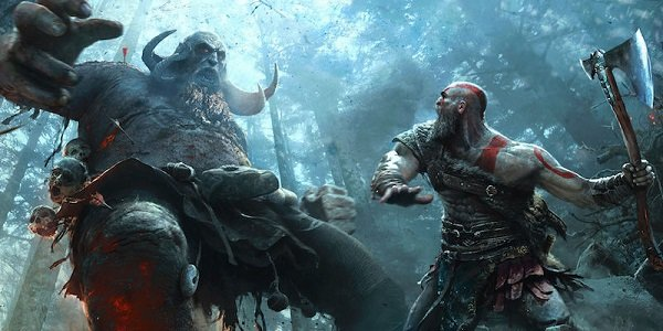 Kratos fights a brute in God of War.