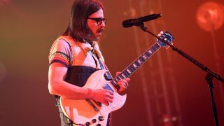 In this image released on May 7th, Rivers Cuomo of Weezer performs onstage during the iHeartRadio Album Release Party with Weezer at the iHeartRadio Theater in Burbank, California. The event streamed on LiveXLive and broadcasted across iHeartMedia's Alternative and select Rock radio stations.