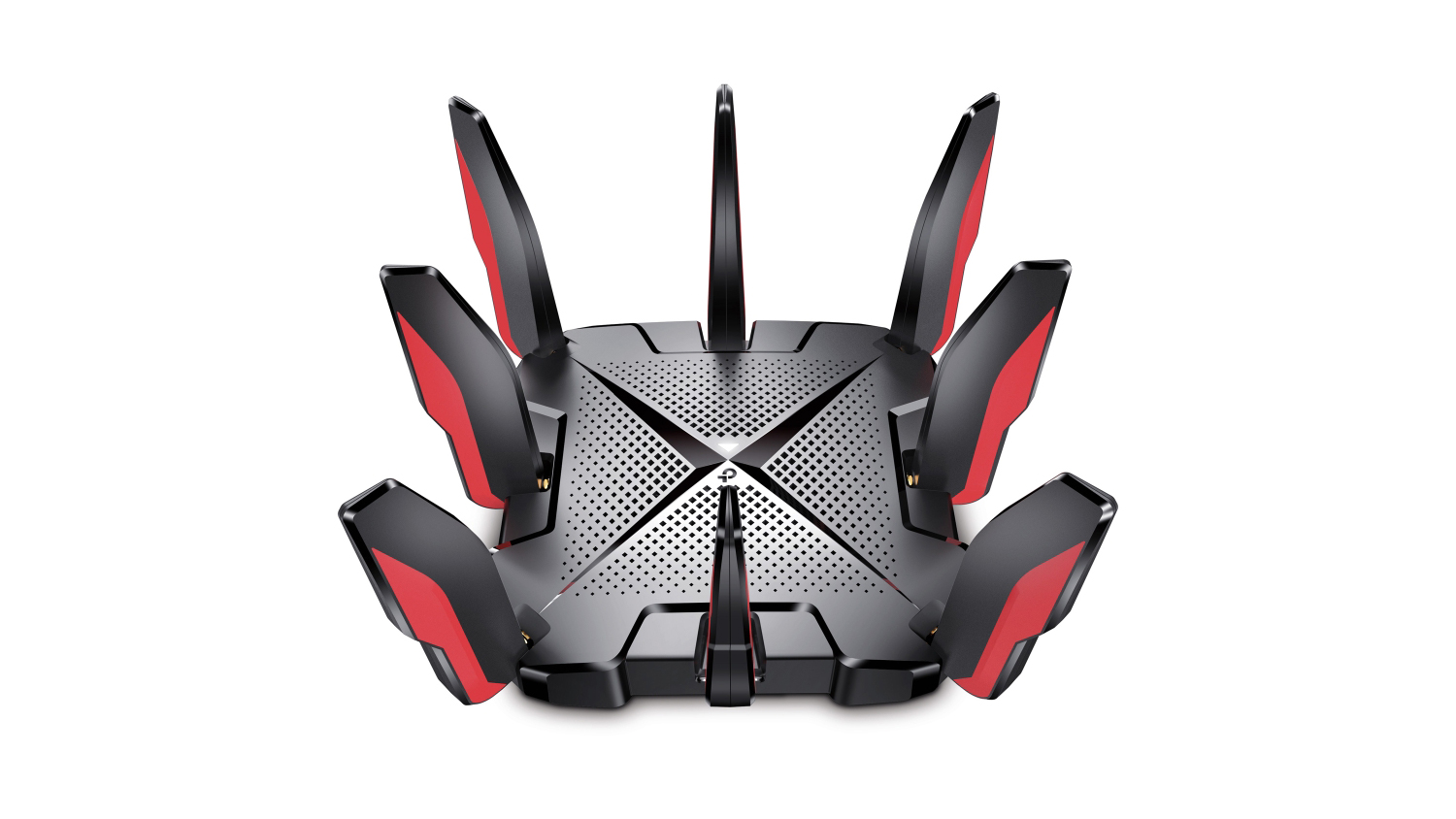 TP-Link Archer GX90 at an angle overhead on a white background