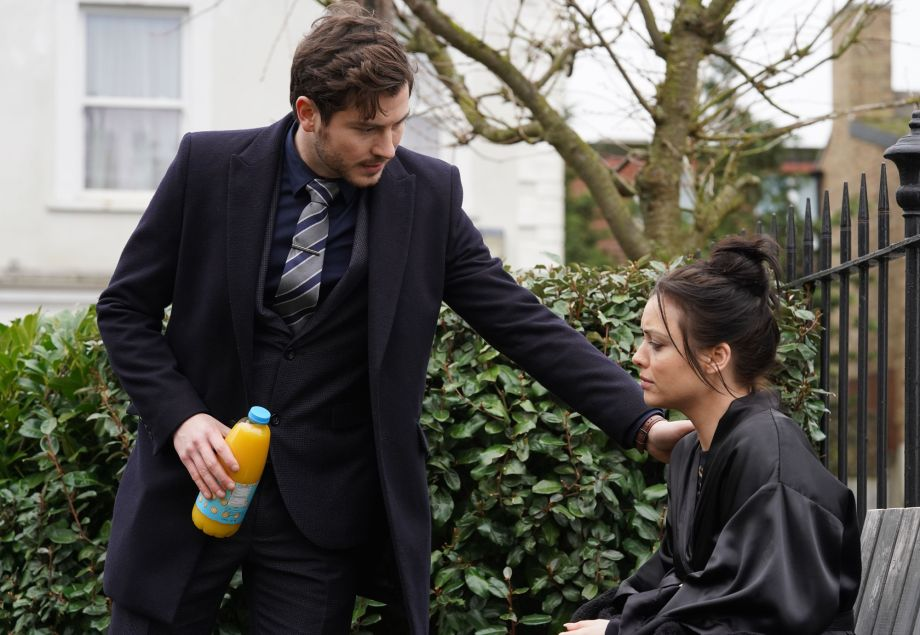 Gray Atkins finds Whitney in the Square in EastEnders.