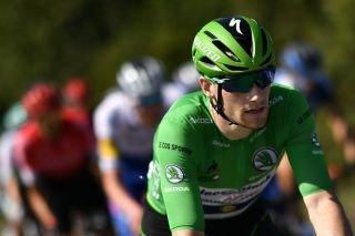 Team Deceuninck-QuickStep rider Sam Bennett wearing the best sprinters green jersey rides during the 15th stage of the 107th edition of the Tour de France cycling race 175 km between Lyon and Grand Colombier on September 13 2020 Photo by Marco Bertorello AFP Photo by MARCO BERTORELLOAFP via Getty Images