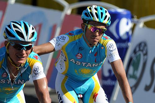Alexandre Vinokourov and Alberto Contador, Andy Jones at the Tour de France 2010
