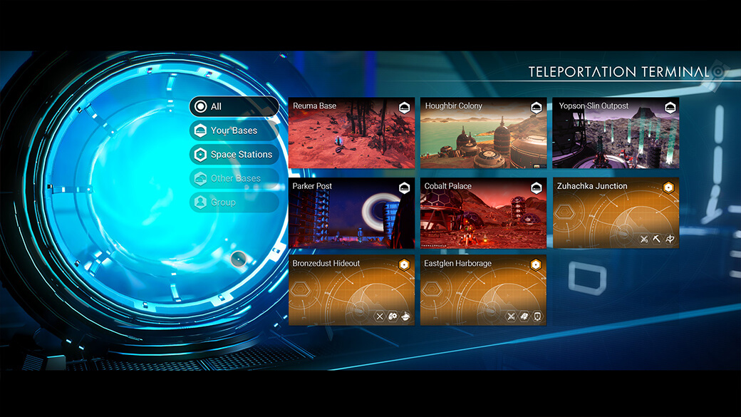 The teleporter interface has been updated, letting you know more about your intended destinations before choosing one.