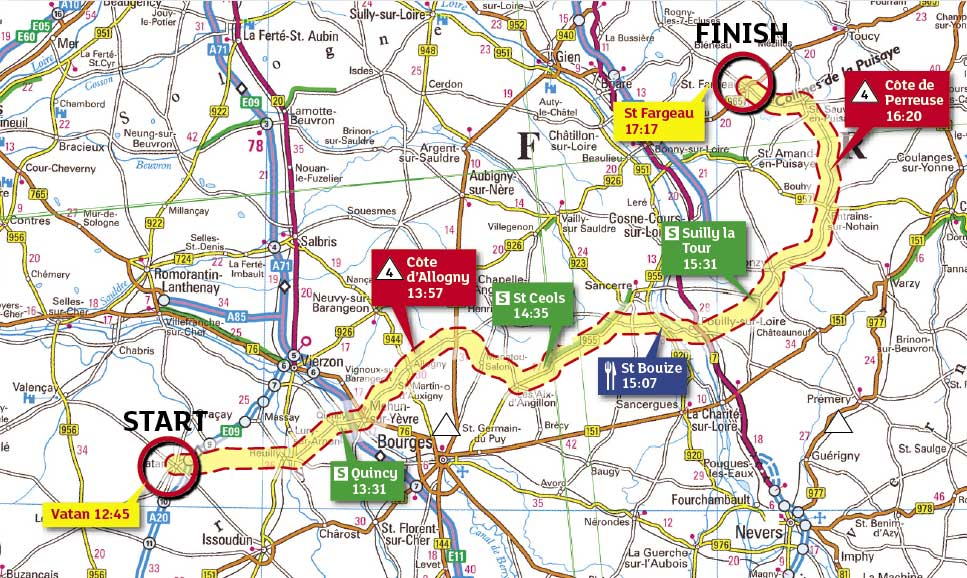 Tour de France 2009, stage 11 map