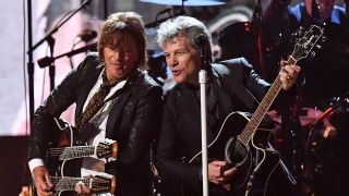 Richie Sambora and Jon Bon Jovi onstage at the Rock & Roll Hall of Fame Induction Ceremony in 2018