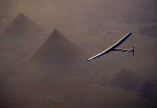 Solar Impulse 2 Over Pyramids