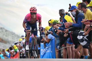 EF Pro Cycling's Rigoberto Uran receives plenty of encouragement as he finishes ninth on stage 17 of the 2020 Tour de France, but drops from third to sixth overall