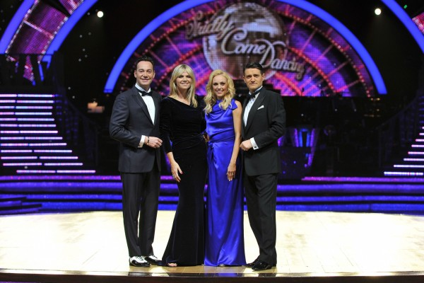 Presenter Zoe Ball (second from left) with judges Craig Revel Horwood (left), Camilla Dallerup (second from right) and Tom Chambers (right)