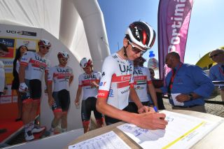 Joe Dombrowski (UAE Team Emirates) signs in for stage 1 of the 2020 Volta ao Algarve