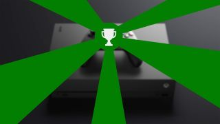 An illustration showing the Xbox Achievement logo casting glorious green rays over an Xbox One.
