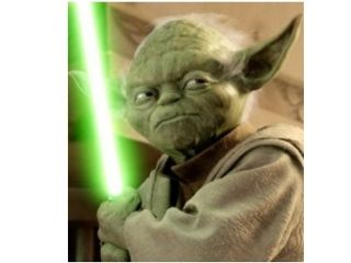 Yoda comes to the dark side. As in the PS3 that's, you know, black in colour