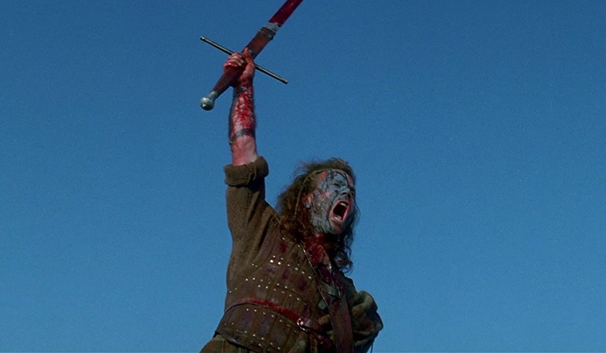 Braveheart Mel Gibson hoists a bloody sword and shouts