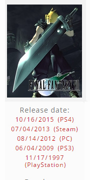 Final Fantasy 7 coming to PS4 in October?