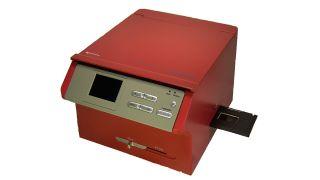 A red Wolverine SNAP-14 slide-to-digital-image converter