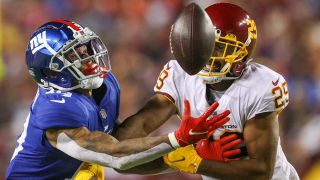 Kendall Fuller #29 of the Washington Football Team and Kenny Golladay #19 of the New York Giants unable to gain control of the ball during the third quarter at FedExField on Sept. 16, 2021 in Landover, Maryland.