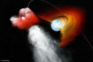 Pulsar rams into disk of dust around a star