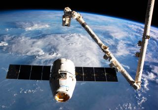 SpaceX Dragon spacecraft at ISS