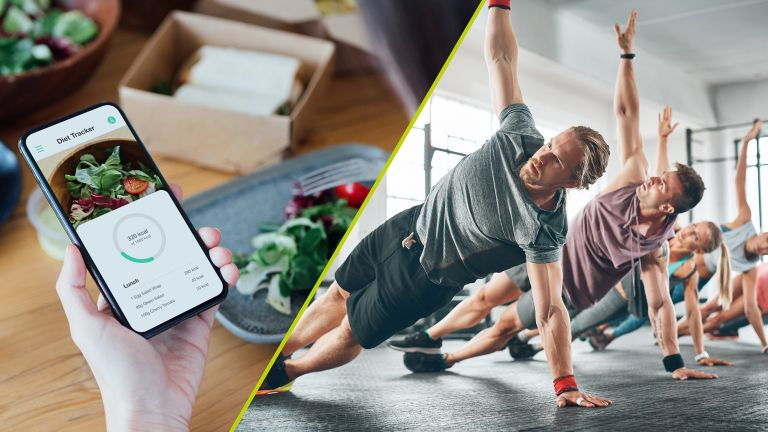 Diet vs exercise split image, showing a woman consulting a diet app whilst eating a salad and a group of people exercising in a gym