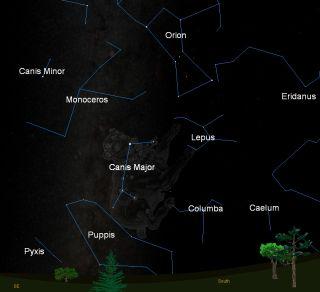 This sky map shows the locations of the Canis Major (Big Dog), Canis Minor (Little Dog) and Orion constellations in the southeastern sky at 9 pm ET as seen from the U.S. East Coast.