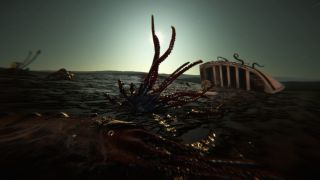 An image from horror game Dagon. The sea floor is bare.
