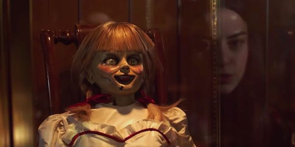 Annabelle Comes Home movie, doll in glass encasement in Warren artifact room