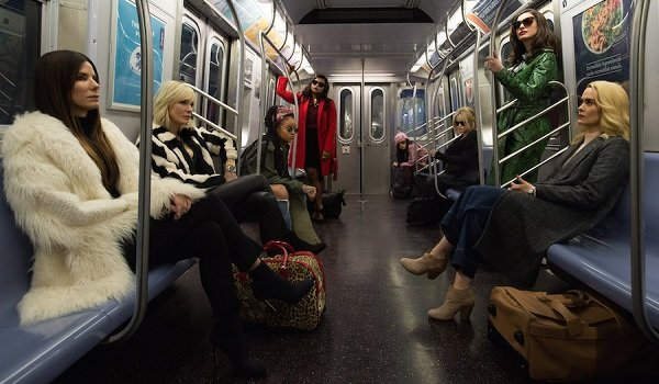 Ocean's 8 Sandra Bullock Cate Blanchett Debbie and her crew ride the subway