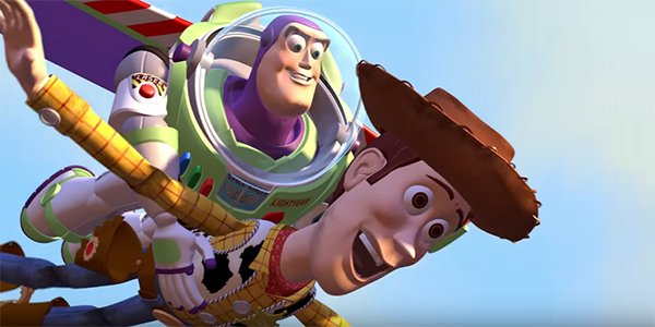 Buzz and Woody falling with style in Toy Story