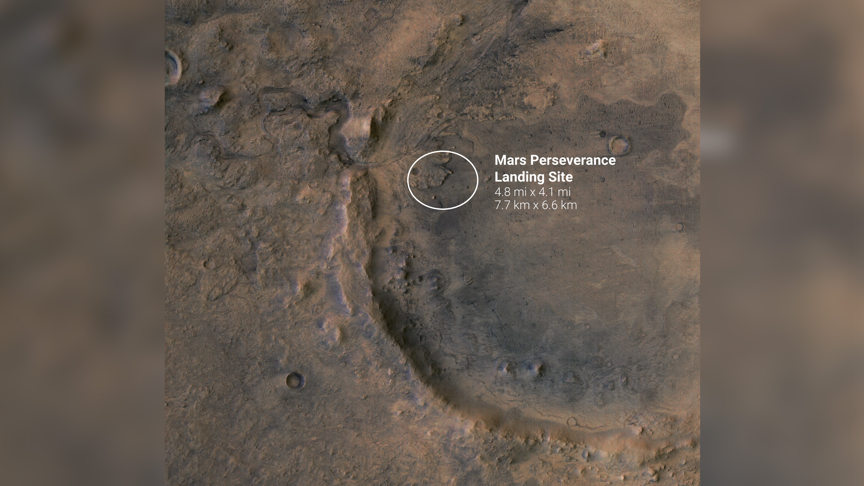 Images of Jezero crater, where Perseverance will touch down on Mars.