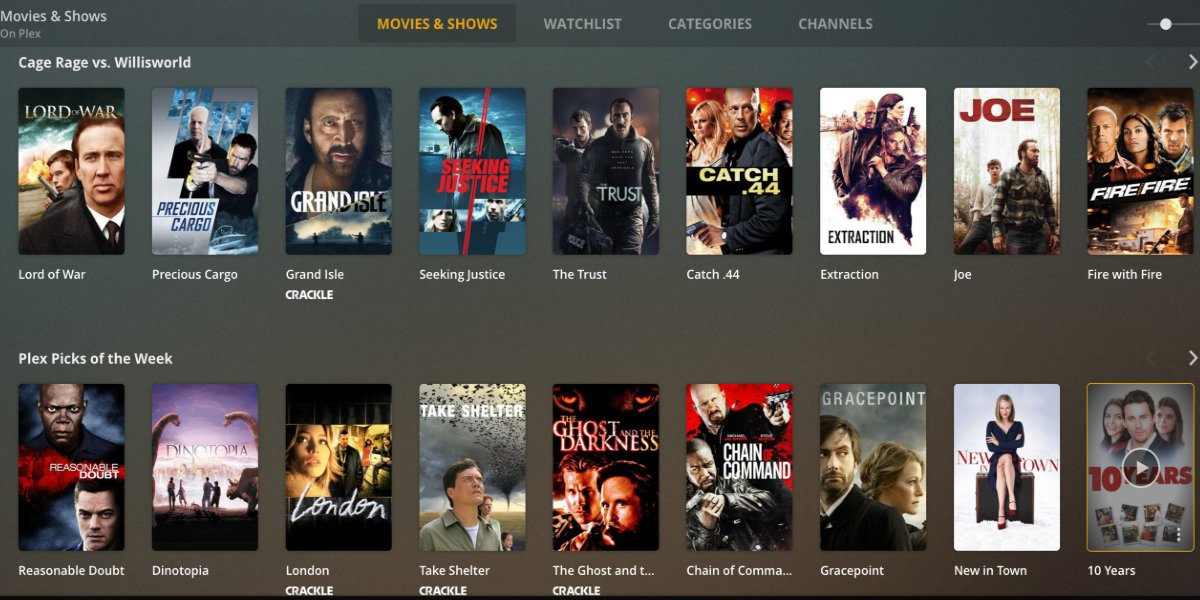 Movies & Shows page on Plex