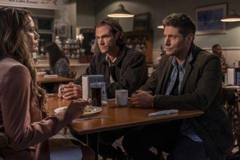 Sam, Dean, and Amara sit down for some pierogi.