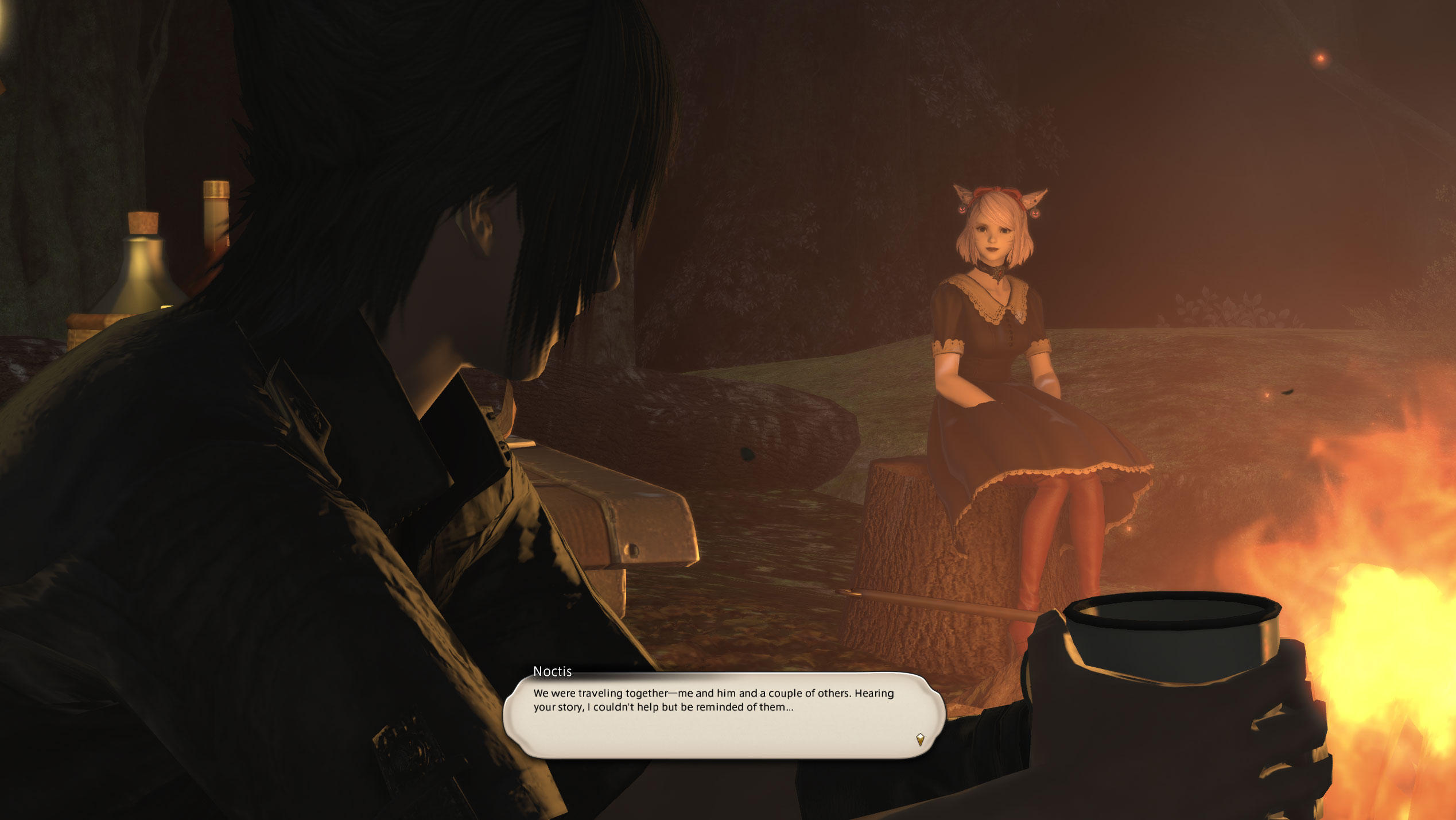 Final Fantasy XIV, my warrior of light sitting at a campfire with Noctis while he talks about his past. We're in love