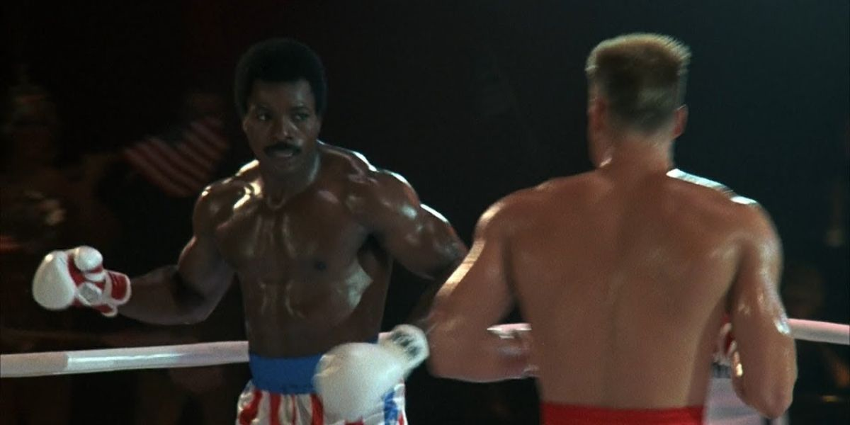 Apollo Creed and Ivan Drago boxing in Rocky IV