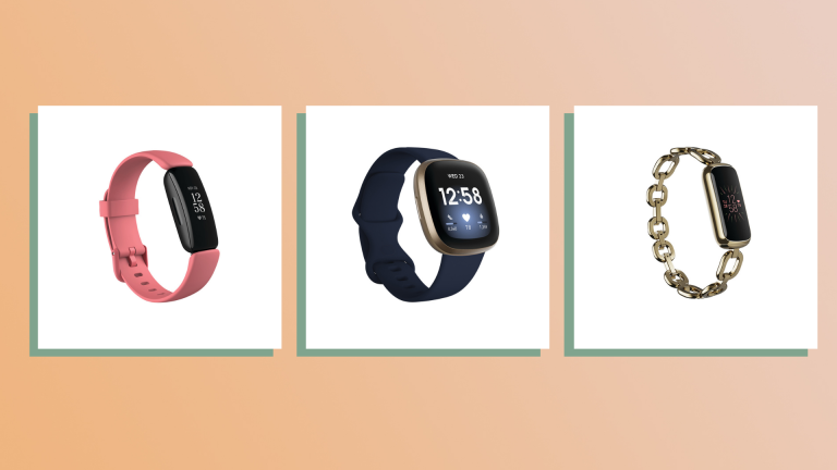 three of the best Fitbits on peach background