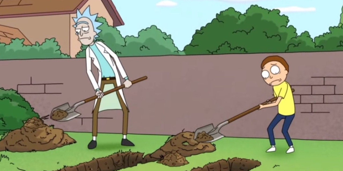 """Rick and Morty burying their bodies in """"Rick Potion #9"""""""