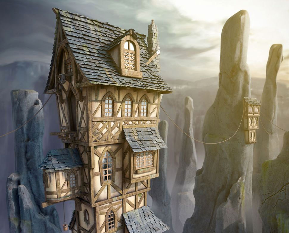 Wooden and stone house in fantasy land