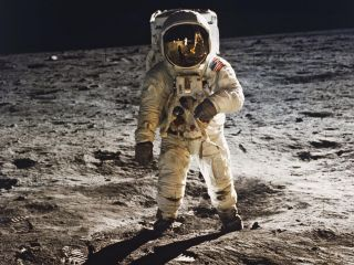Apollo 11 astronaut Buzz Aldrin walks on the moon in July 1969 in this photo snapped by Neil Armstrong.