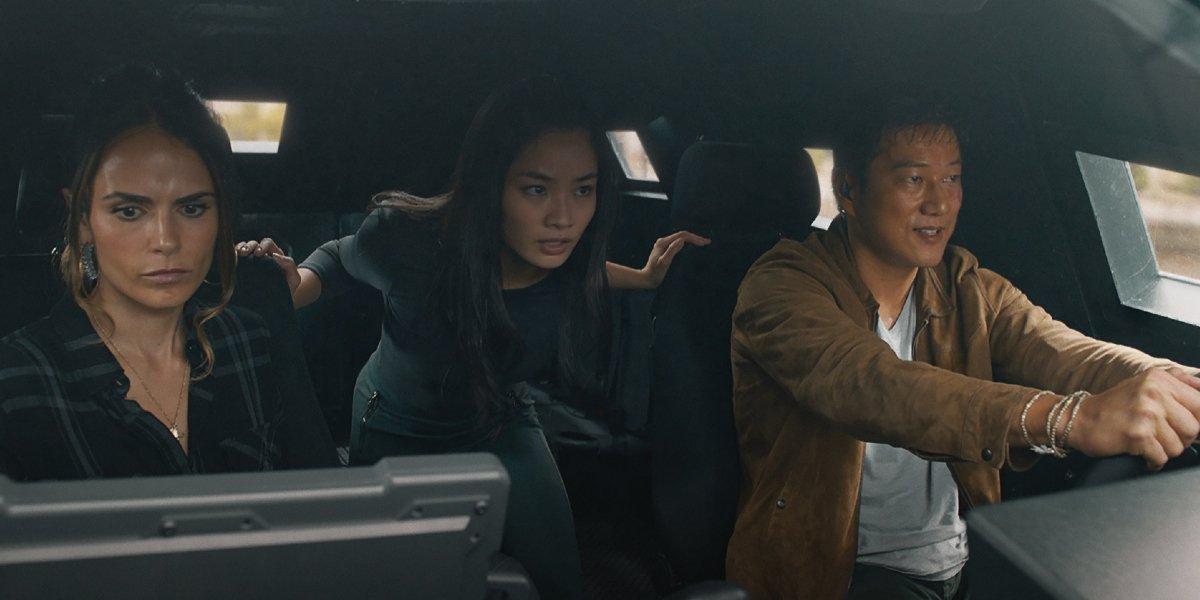 Jordana Brewster, Anna Sawai, and Sung Kang in F9
