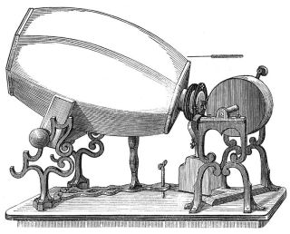 A sketch of an 1859 model of Édouard-Léon Scott de Martinville's phonautograph.
