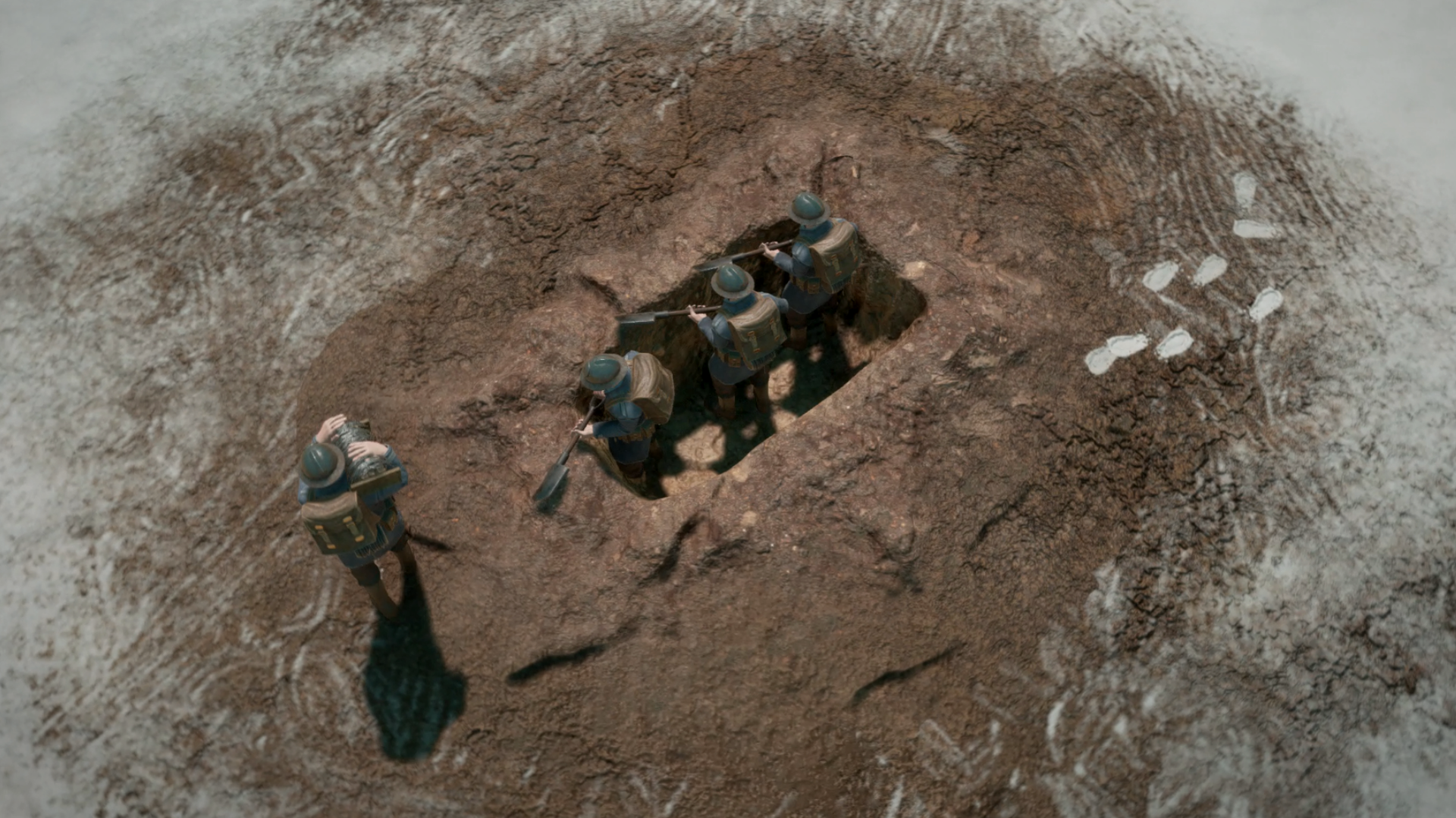 Three soldiers sheltering in a hole from the game Foxhole.