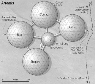 Five domes connected on the surface of the moon
