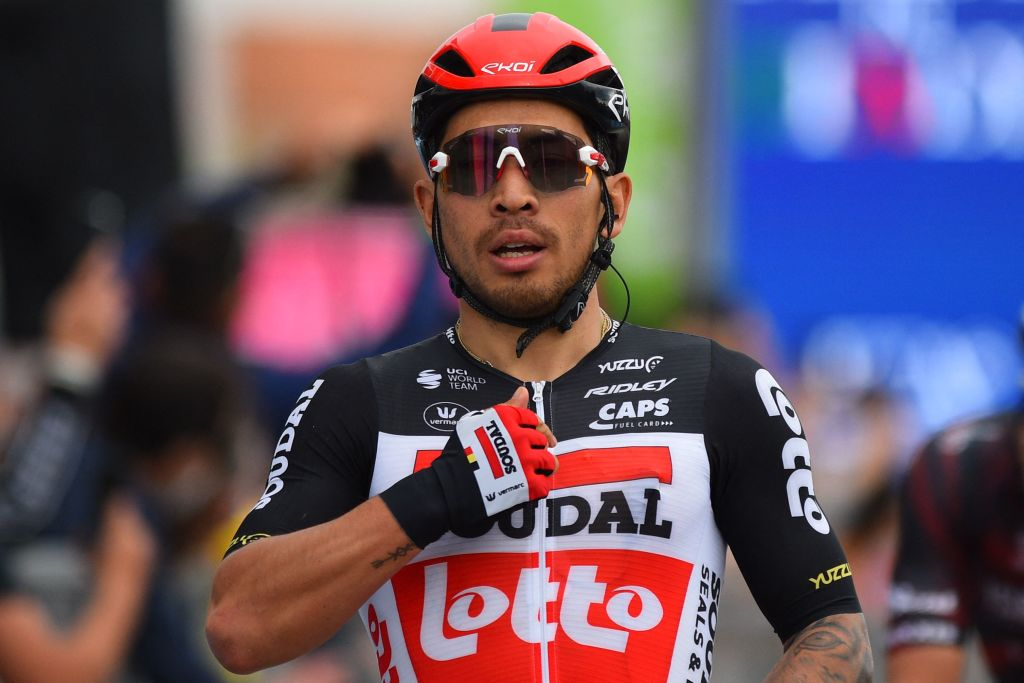 Team LottoSoudal rider Australias Caleb Ewan celebrates as he crosses the finish line to win the seventh stage of the Giro dItalia 2021 cycling race 181 km between Notaresco and Termoli on May 14 2021 Photo by Dario BELINGHERI AFP Photo by DARIO BELINGHERIAFP via Getty Images
