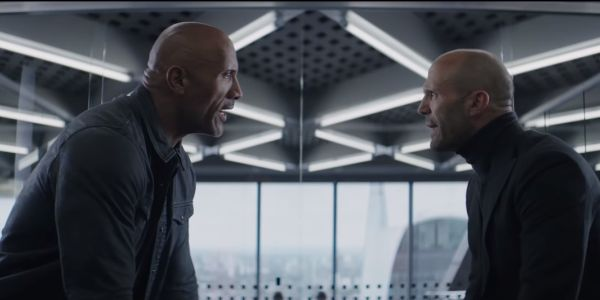 Dwayne Johnson and Jason Statham staring each other down in Hobbs & Shaw