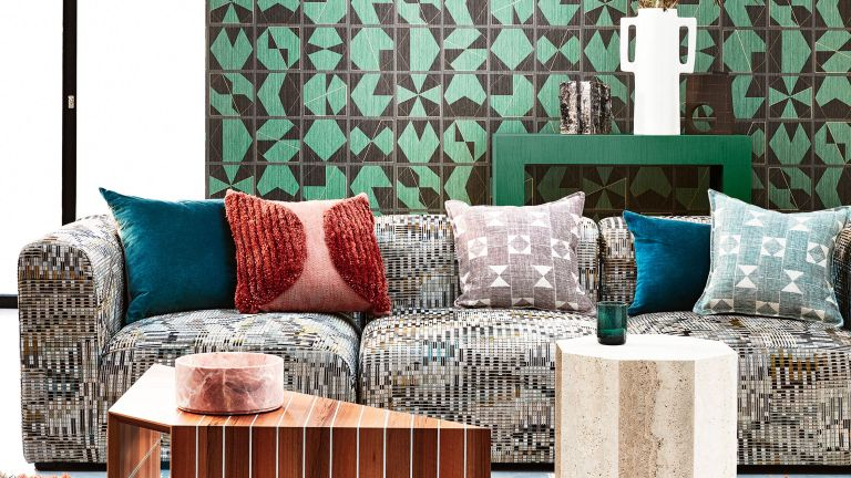 Green living room with wallpaper
