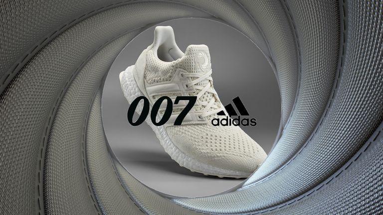James Bond-themed Adidas UltraBoost shown through the iconic 007 gunsight