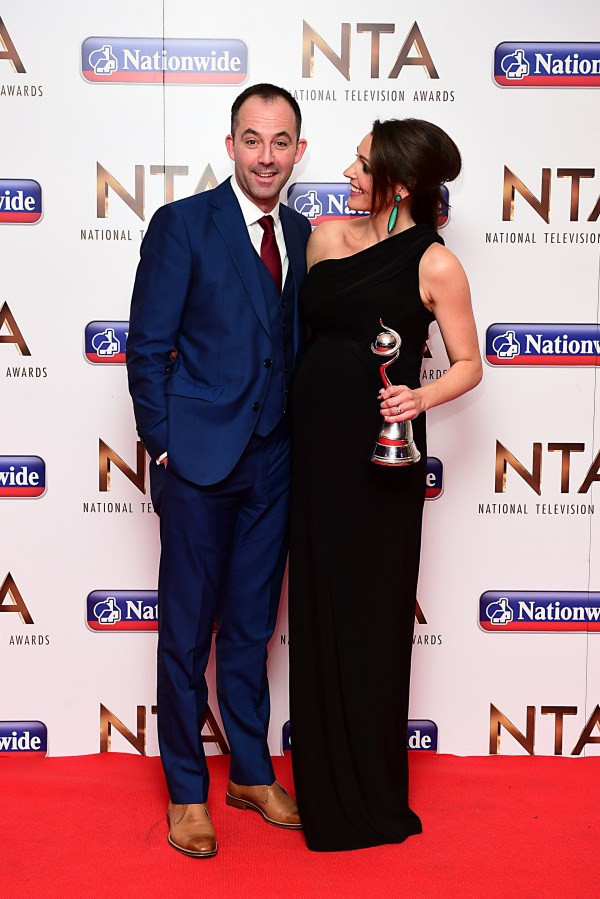 Suranne Jones and husband Laurence Akers in the press room at the National Television Awards  (Ian West)